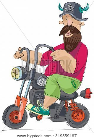 An Biker In A Horned Helmet Rides On A Really Cute And Small Bike. Caricature, Cartoon Character. A