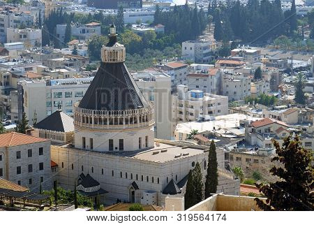 Nazareth, Israel - December 15, 2018: Top View Of The Catholic Basilica Of The Annunciation In Nazar
