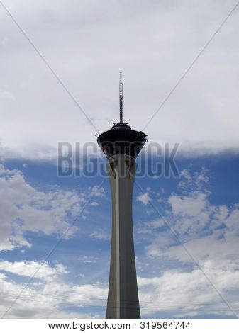 Las Vegas July 29, 2011: Stratosphere Tower In Cloudy Sky.  Stratosphere Tower Is Over 900 Feet Tall