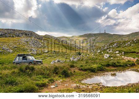 Travnik, Bosnia And Herzegovina - July, 2019. Offroad Park Near Paljenik, Mountain Peak At An Elevat