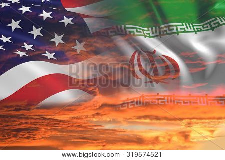 Usa United States Of America And Iran Relations / Iran Us War With Flags On Stormy Cloudy Orange Sky