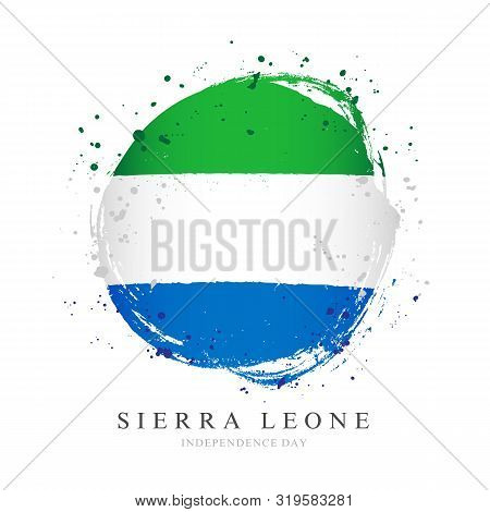 Sierra Leone Flag In The Shape Of A Big Circle. Vector Illustration On A White Background. Brush Str