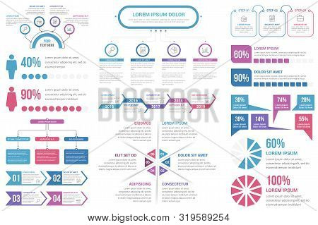 Infographic Elements - Steps And Options, People Infographics, Flowchart, Timeline, Circle Infograph