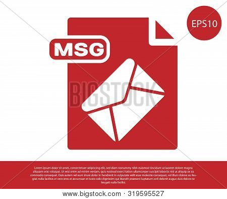 Red Msg File Document. Download Msg Button Icon Isolated On White Background. Msg File Symbol. Vecto