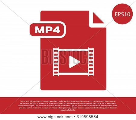 Red Mp4 File Document. Download Mp4 Button Icon Isolated On White Background. Mp4 File Symbol. Vecto