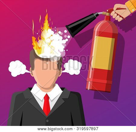 Stressed Businessman With Hair On Fire Gets Help From Man With Extinguisher. Overworked Man With Bur