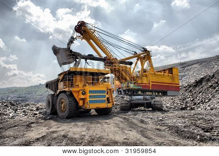 Loading of iron ore on very big dump-body truck HDR poster