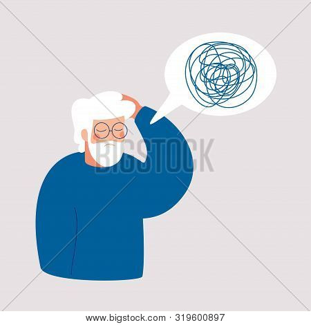 Older Man Has In Depression With Bewildered Thoughts In His Mind. Loss Of Short-term Memory, Difficu