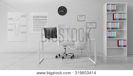 Ophthalmologist, Ophthalmology Clinic Doctor Office Room Interior With White Chairs Near Work Desk,
