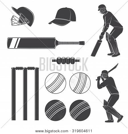 Set Of Cricket Equipment Silhouette Icons. Vector Illustration. Set Include Cricket Bat, Wicket, Bai