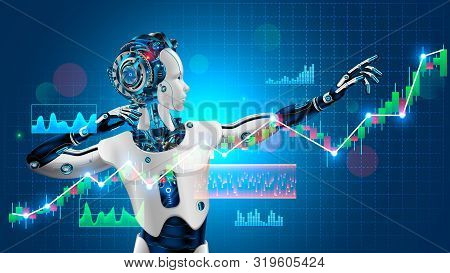 Robot Trader Assistant On Forex Market. Automated Trading System. Software Of Stock Market. Advisor
