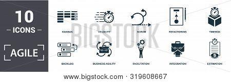 Agile Icon Set. Contain Filled Flat Backlog , Business Agility , Estimation , Facilitation , Integra