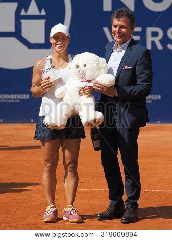 Nuremberg, Germany - May 25, 2019: Kazach Tennis Player Yulia Putintseva Receiving The Winner Trophy