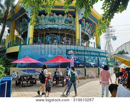Hongkong-august 24,2019:people Visiting And Playing At Ocean Park In Hongkong.