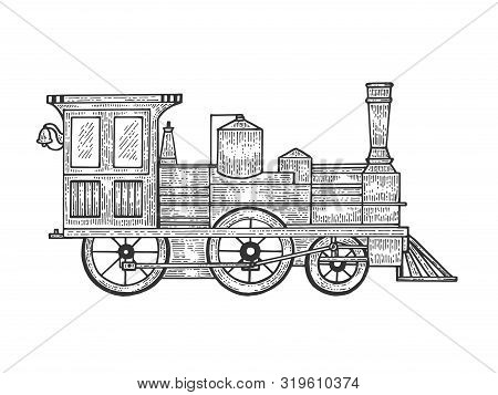 Old Steam Locomotive Train Transport Sketch Line Art Engraving Vector Illustration. Scratch Board St