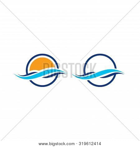 Wave Logo, Water Wave Logo Design Template, Water Drop, Wave  With Round Shape.