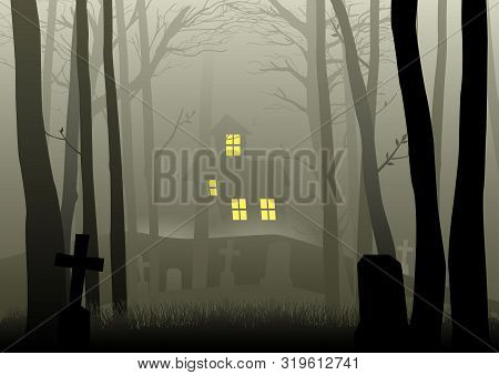 Silhouette Illustration Of A Scary House And Cemetery In The Dark Woods, For Halloween Theme Or Back