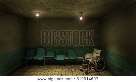 Horror And Creepy Seat Waiting And Wheelchair In Front Of The Examination Room In The Hospital.3D Re