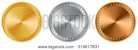 Award Medal In Gold, Silver And Bronze As Vector On White Isolated Background. Award Medals As Vecto