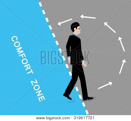 A vector illustration of a man leaving his comfort zone and arrows in the grey area indicating his instinct is to go back to it. poster