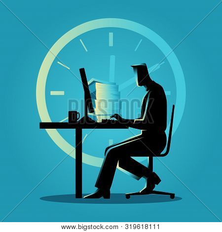 Silhouette Illustration Of A Man Working Overtime On The Computer