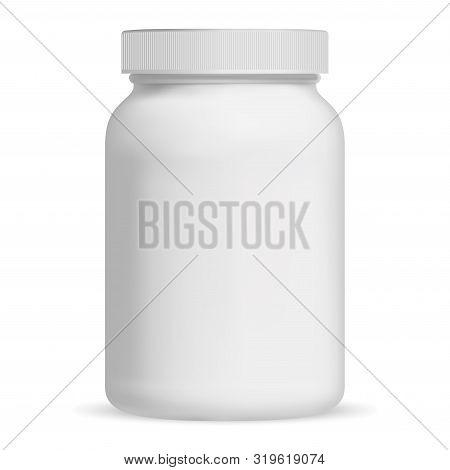 Supplement Bottle. Vitamin Pill Bottle. Aspirin Jar Vector Mockup. Empty Medical Container Blank. 3d