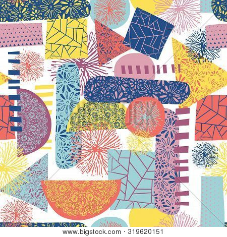 Pattern Clash Abstract Contemporary Shapes Seamless Vector Background. Collage Background Tile Blue,