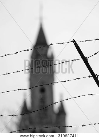 The Hague, Netherlands - January 26, 2019: Barb  Wire In Front Of The Peace Palace, Home Of The Inte