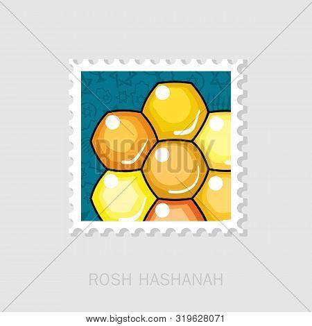 Bee Honeycomb. Honey. Rosh Hashanah Stamp. Shana Tova. Happy And Sweet New Year In Hebrew