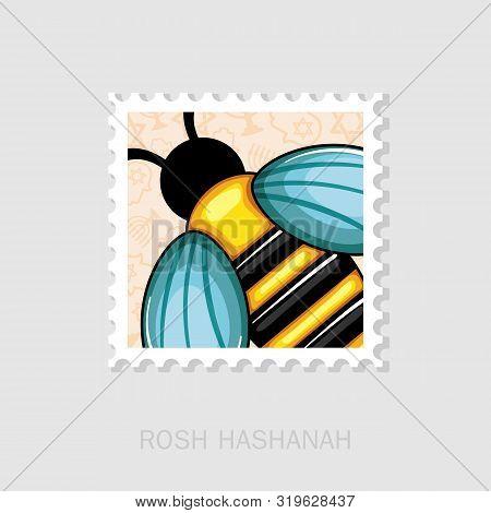 Bee. Rosh Hashanah Stamp. Shana Tova. Happy And Sweet New Year In Hebrew