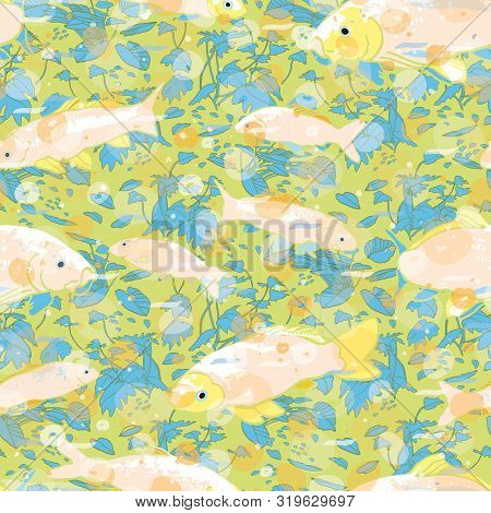 Wavy Sealife Goldfish Koi Seamless Pattern. With Waterplant, Wave And Fish In Tones Of Blue And Gree