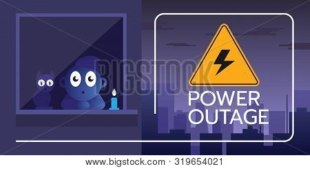 The Banner Of A Power Outage With A Warning Sign On The Background Of The City Without Electricity A