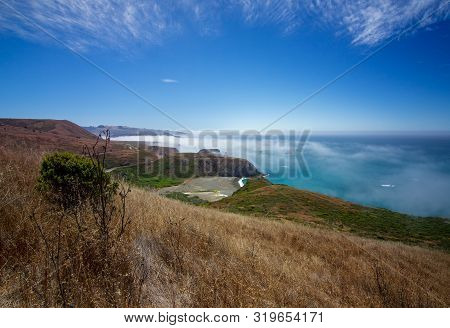 Landscape View Of Foggy Sonoma Coast In California, Usa, From Highway 1, On A Typical Summer Day In