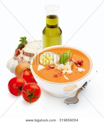 Salmorejo With Ingredients Isolated On White Background. Tomato Soup For Summer. Mediterranean Diet