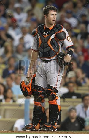 LOS ANGELES - SEPT 3: Giants catcher (28) Buster Posey during the Giants vs. Dodgers game on Sept 3 2010 at Dodgers Stadium.
