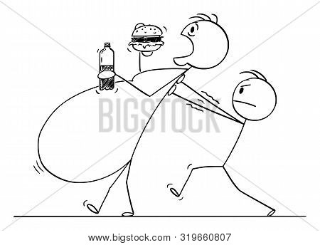Vector Cartoon Stick Figure Drawing Conceptual Illustration Of Overweight, Morbid Obese Or Fat Man E