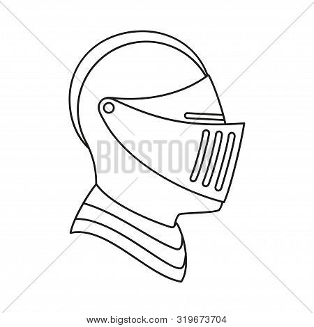 Line Art Black And White Knight Helmet. Medieval Festival Props. Fairy Tale Theme Vector Illustratio