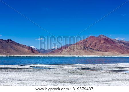 Tso Kar - fluctuating salt lake in Himalayas. Rapshu, Ladakh, Jammu and Kashmir, India