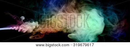 colorful smoke on black background, panoramic image poster