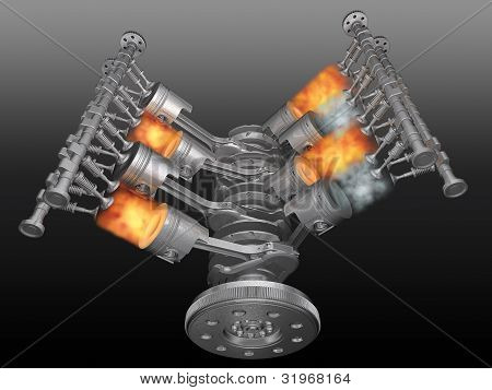 V8 motor pistons valves con-rod and crankshaft in work. 3D image. poster