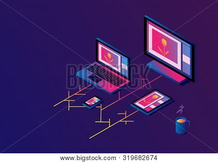 Cross-platform Isometric Web Content. Devices - Smartphone, Tablet, Laptop And Desktop Computer With