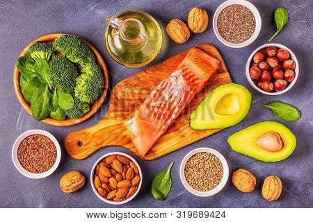 Animal And Vegetable Sources Of Omega-3 Acids. Balanced Diet Concept. Top View, Copy Space.