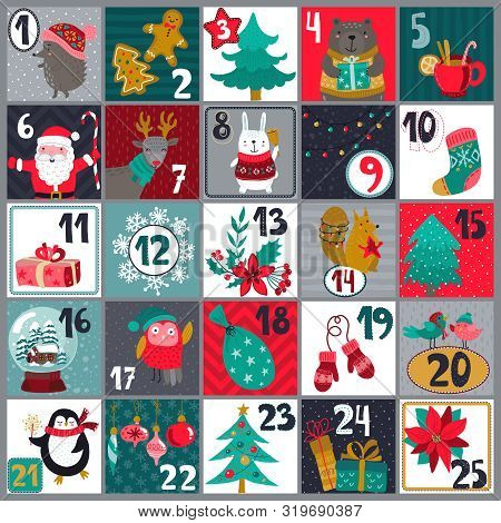 Vector Christmas Advent Calendar With Cute Animals And Traditional Simbols. Holiday Poster.