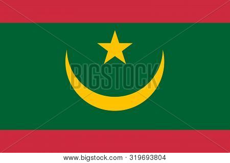 Flag Of Mauritania Vector Illustration, Worlds Flags Collection