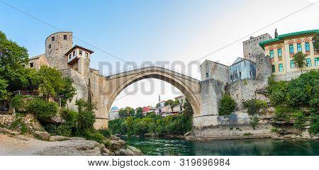 River Neretva And Old Bridge In Mostar In Bosnia And Gerzegovina