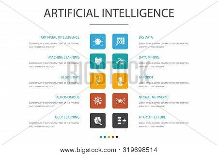 Artificial Intelligence Infographic 10 Option Concept.machine Learning, Algorithm, Deep Learning, Ne