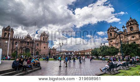 Cusco, Peru - 05/24/2019: Wide Angle View Of The Lively Plaza De Armas In Cusco, Peru.
