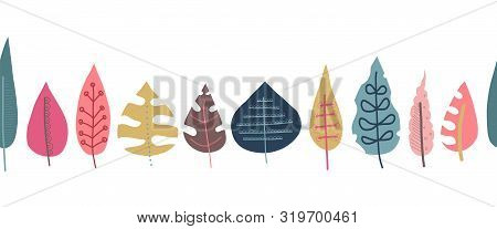 Fall Leaves Seamless Repeating Vector Border. Scandinavian Style Autumn Doodle Pattern. Red Pink Gol