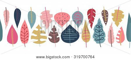 Autumn Leaves Seamless Vector Border. Scandinavian Style Repeating Doodle Pattern. Red Pink Gold Blu