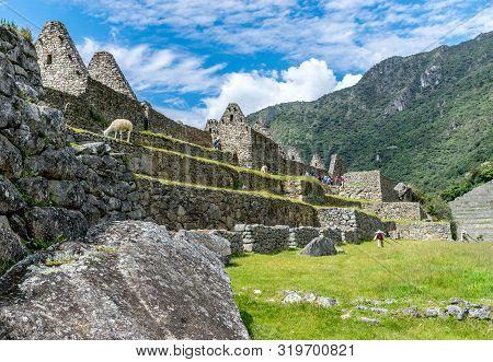 Machu Picchu, Peru - 05/21/2019: Central Plaza At The  Inca Site Of Machu Picchu In Peru.